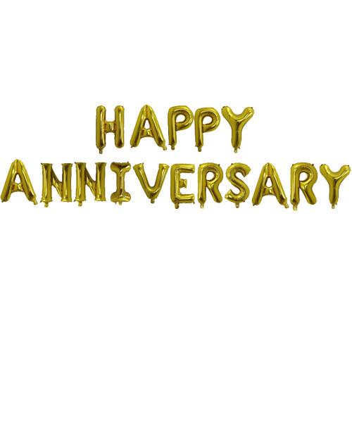 "[Anniversary] 16"" Happy Anniversary Alphabet Foil Balloons Banner - Gold"