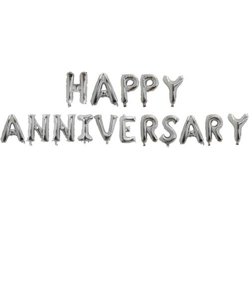 "[Anniversary] 16"" Happy Anniversary Alphabet Foil Balloons Banner - Silver"
