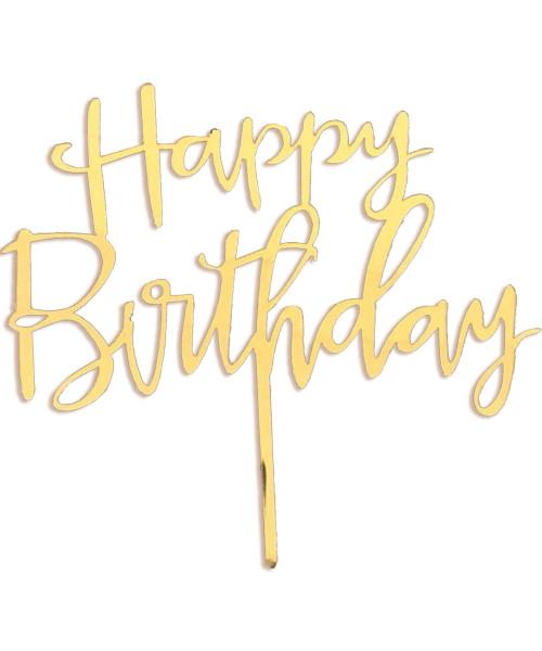 Cursive Happy Birthday Acrylic Cake Topper - Reflective Gold