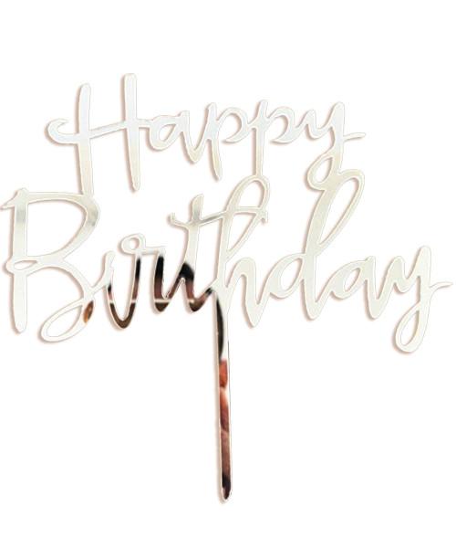 Cursive Happy Birthday Acrylic Cake Topper - Silver