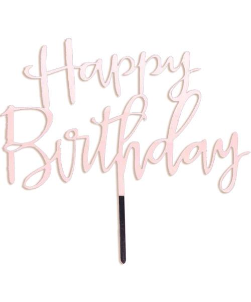 Cursive Happy Birthday Acrylic Cake Topper - Pink