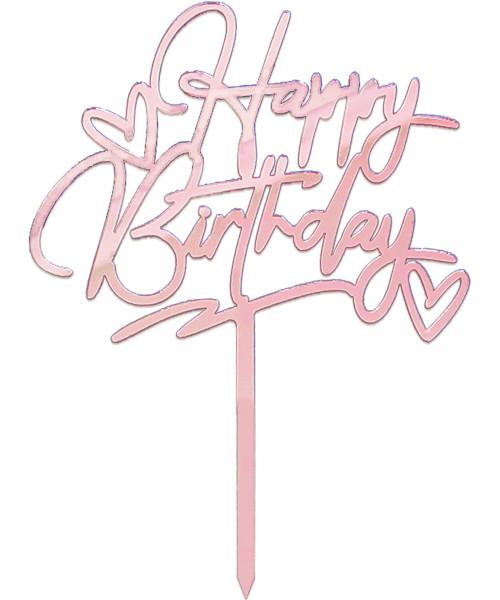 ♡ Happy Birthday ♡ Acrylic Cake Topper -  Rose Gold