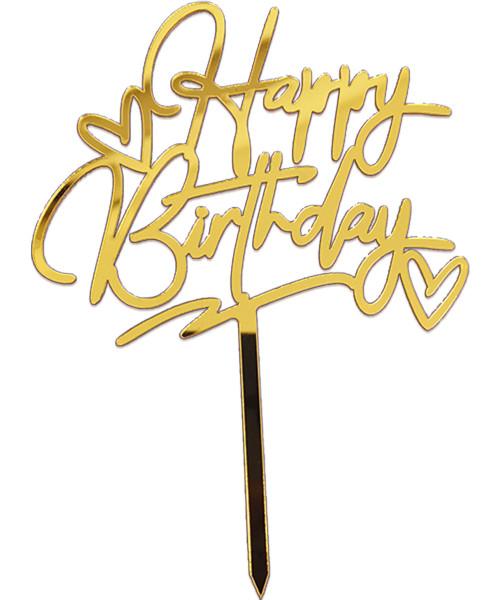 ♡ Happy Birthday ♡ Acrylic Cake Topper - Gold