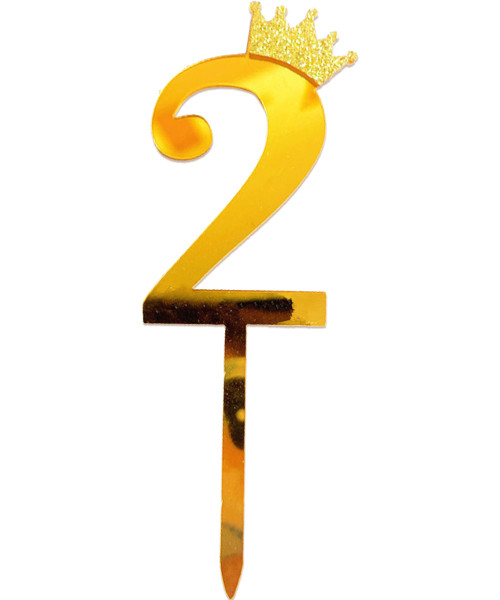 Gold Crown Number Acrylic Cake Topper - Number '2'