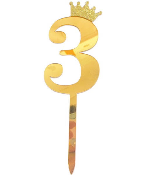 Gold Crown Number Acrylic Cake Topper - Number '3'