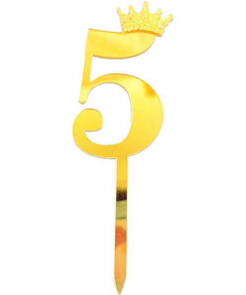 Gold Crown Number Acrylic Cake Topper - Number '5'