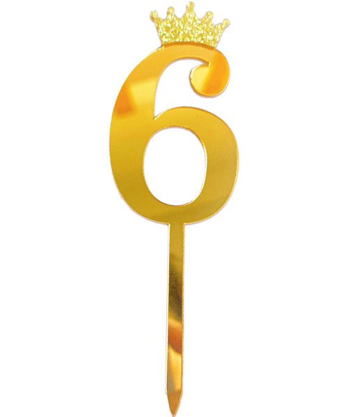 Gold Crown Number Acrylic Cake Topper - Number '6'