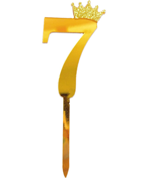 Gold Crown Number Acrylic Cake Topper - Number '7'