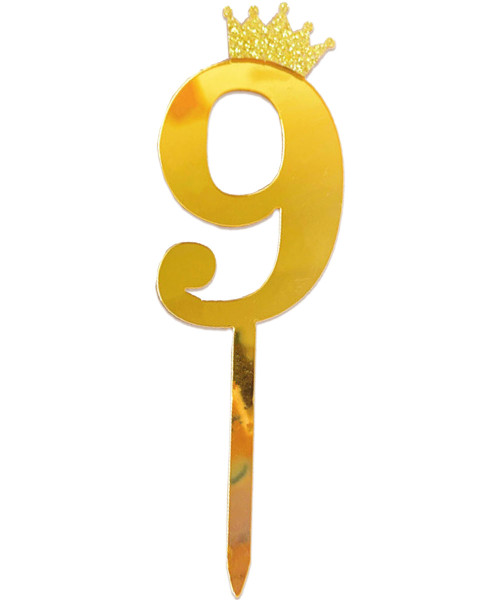 Gold Crown Number Acrylic Cake Topper - Number '9'
