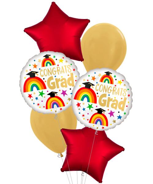 [Graduation] Grad Rainbows Balloons Bouquet