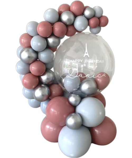 [Birthday] Personalised Chalk Matte Crystal Globe Balloons Centerpiece (Create your own color!)