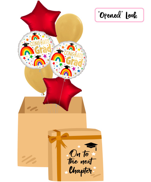 [On To The Next Chapter Balloon Surprise Box] Grad Rainbows Balloons Bouquet