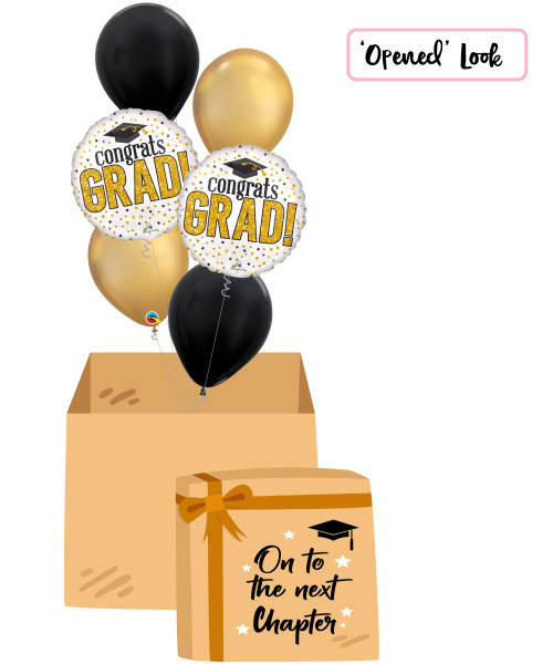 [On To The Next Chapter Balloon Surprise Box] Grad Sparkle Chrome Gold Balloons Bouquet