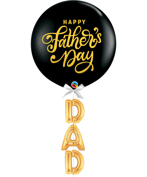 """[Dad, You Rock!] Happy Father's Day Jumbo Perfectly Round Latex Balloon styled with 16"""" Letter Foil Balloons (DAD)"""