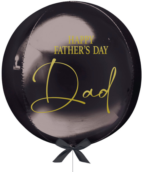 """[Dad, You Rock!] Personalised 16""""/41cm Sphere Shaped Balloon (Black) - Happy Father's Day Dad"""