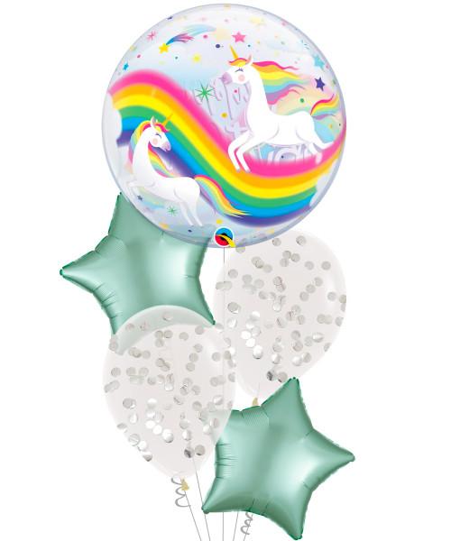 [Unicorn] Birthday Rainbow Unicorns Bubble Balloons Bouquet