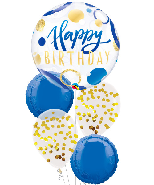 [Birthday] Birthday Blue Gold Dots Bubble Balloons Bouquet
