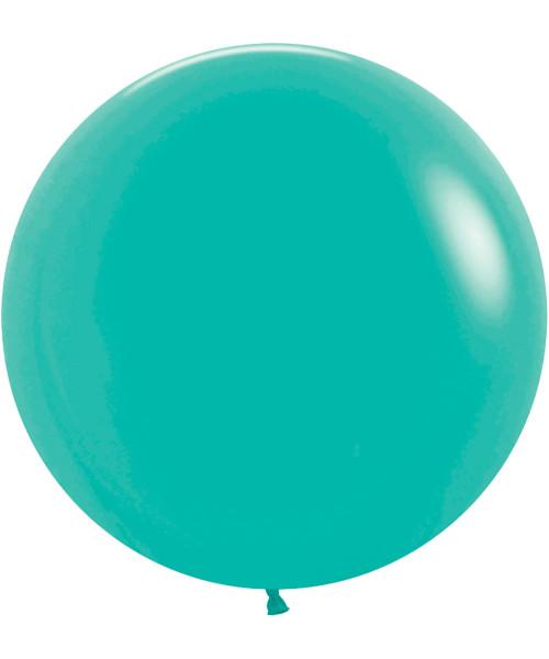 "24"" Fashion Color Round Latex Balloon - Caribbean Blue"