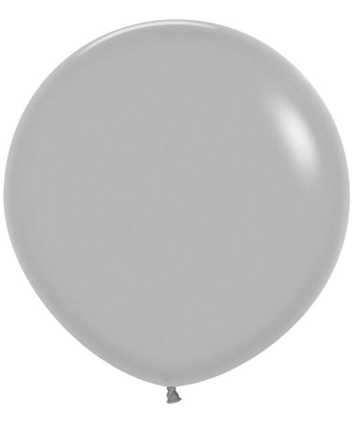 "24"" Fashion Color Round Latex Balloon - Grey"