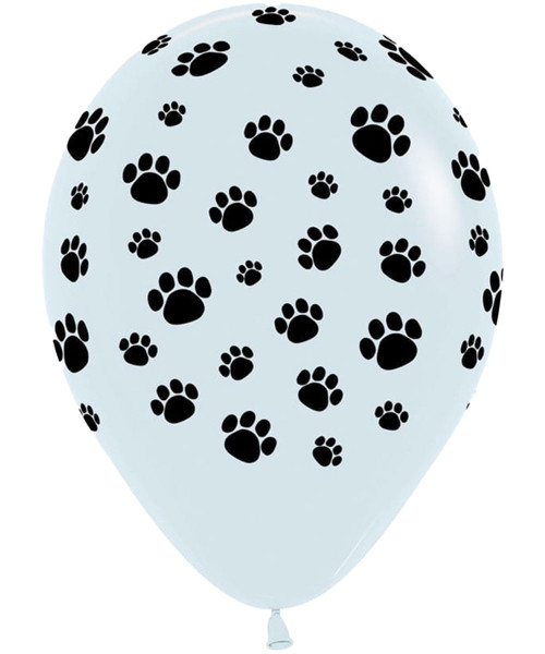 """12"""" All Over Paw Print Round Latex Balloon"""