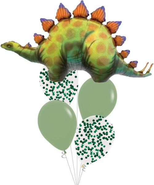 [Dinosaur] Stegosaurus Metallic Green Confetti Balloons Bouquet