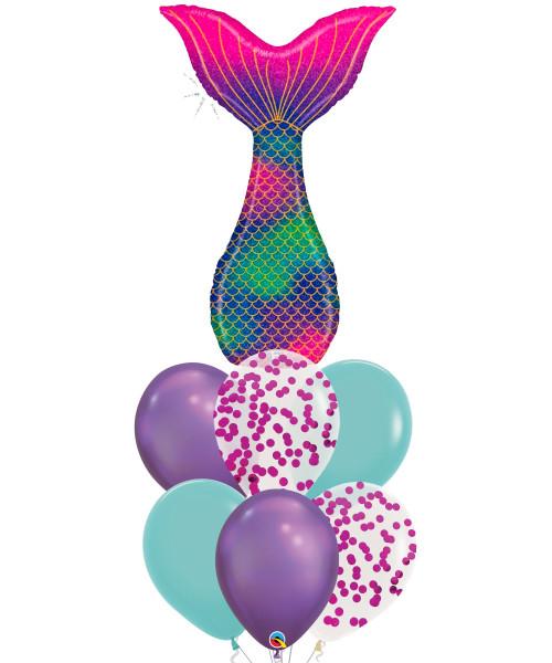 [Mermaid] Glitter Mermaid Tail Chrome Purple Balloons Bouquet