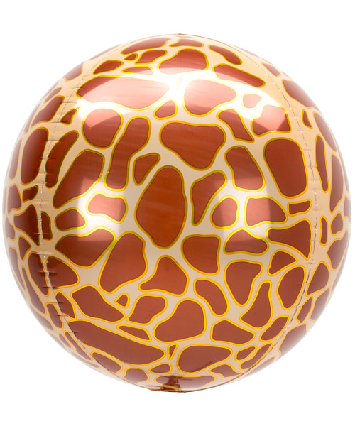 "16""/40cm Orbz Sphere Shaped Balloon - Giraffe Print (A42108)"
