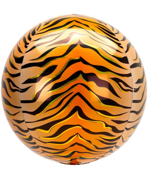 "16""/40cm Orbz Sphere Shaped Balloon - Tiger Print (A42110)"