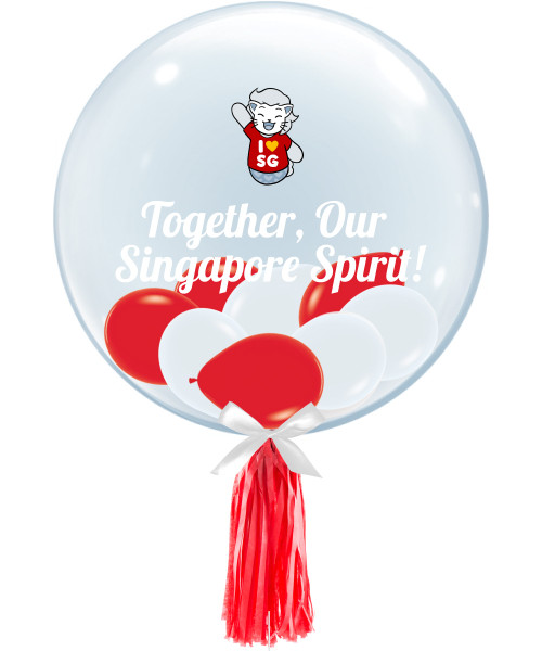 """[Together, Our Singapore Spirit] 24"""" Crystal Clear Bubble Balloon - NDP 2021 Mascot; August"""