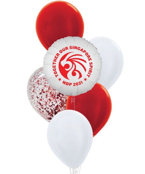 [Together, Our Singapore Spirit] National Day 2021 Balloons Bouquet - Lion's Courage