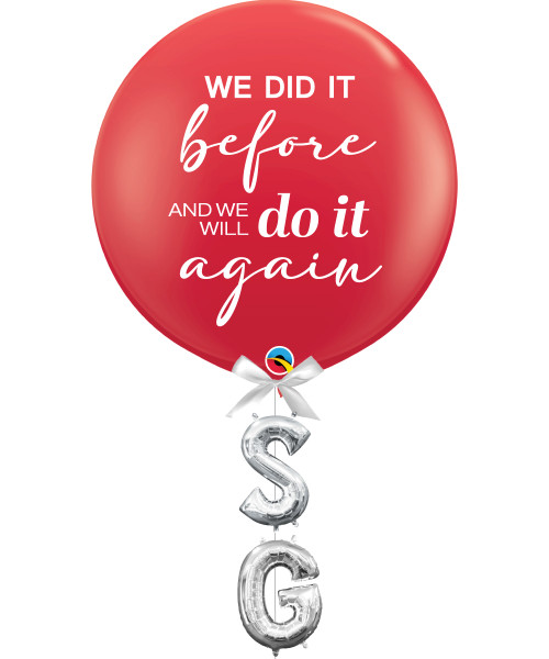 """Together, Our Singapore Spirit] 36"""" Jumbo Perfectly Round Latex Balloon styled with 16"""" Letter Foil Balloons (SG)"""