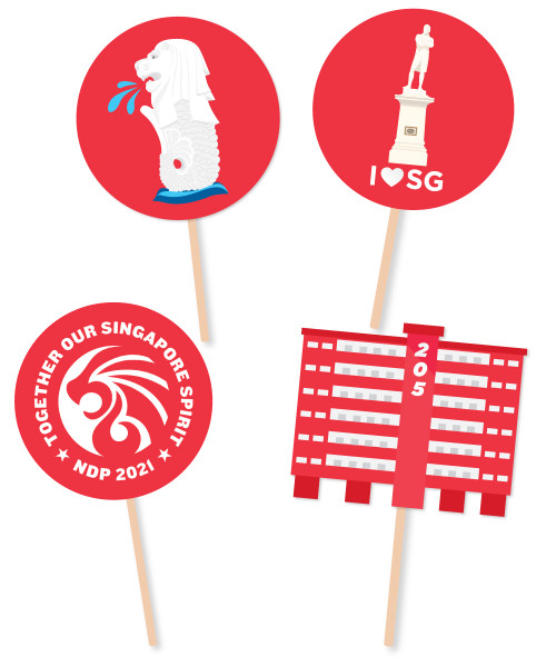 [Together, Our Singapore Spirit] Photobooth Props (Made-To-Order Kapaline Board) - Singapore NDP 2021
