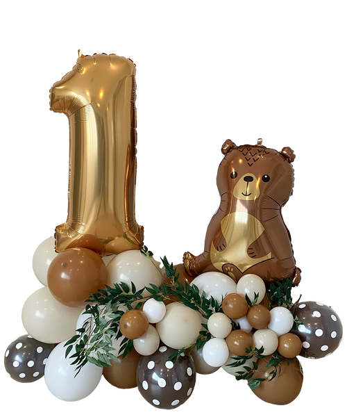 [Animal] Happy Birthday Number Balloons Centerpiece - Whimsical Woodland (Choose your favorite Woodland Animals and Colors!)