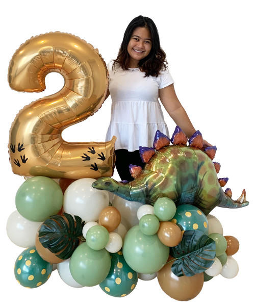 [Dinosaur] Happy Birthday Number Balloons Centerpiece - Roarsome Dinosaur (Choose your favorite Dinosaurs and Colors!)