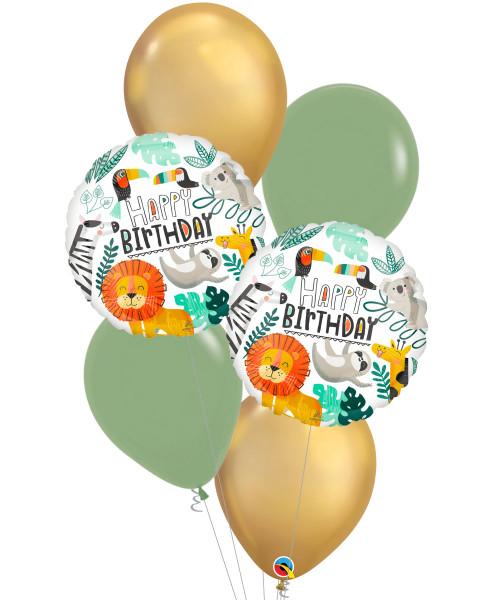 [Animal] Get Wild Birthday Chrome Gold Balloons Bouquet