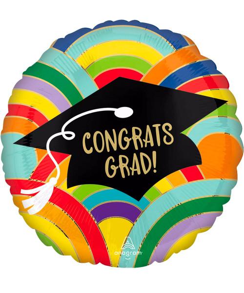 [Graduation] Grad Rainbows All Around Foil Balloon (18inch) (A42776)