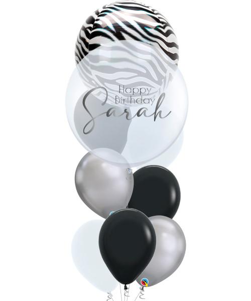 "[Wild Orbz Bubble] 22"" Personalised Wild Orbz Bubble Balloons Bouquet - Zebra Print"