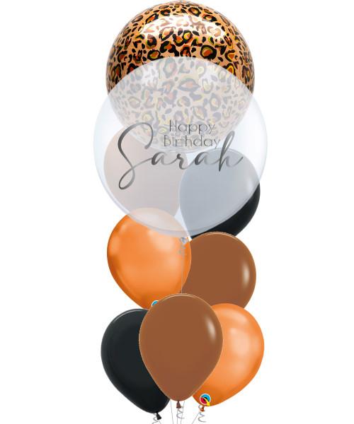 "[Wild Orbz Bubble] 22"" Personalised Wild Orbz Bubble Balloons Bouquet - Leopard Print"