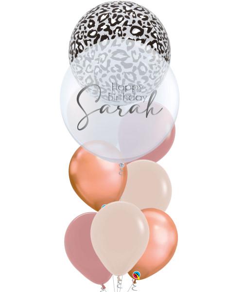 "[Wild Orbz Bubble] 22"" Personalised Wild Orbz Bubble Balloons Bouquet - Snow Leopard Print"