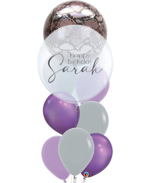 "[Wild Orbz Bubble] 22"" Personalised Wild Orbz Bubble Balloons Bouquet - Snake Skin"
