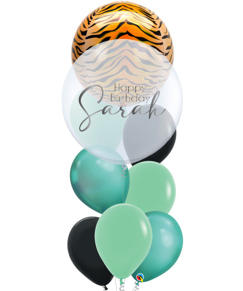 """[Wild Orbz Bubble] 22"""" Personalised Wild Orbz Bubble Balloons Bouquet - Tiger Print"""