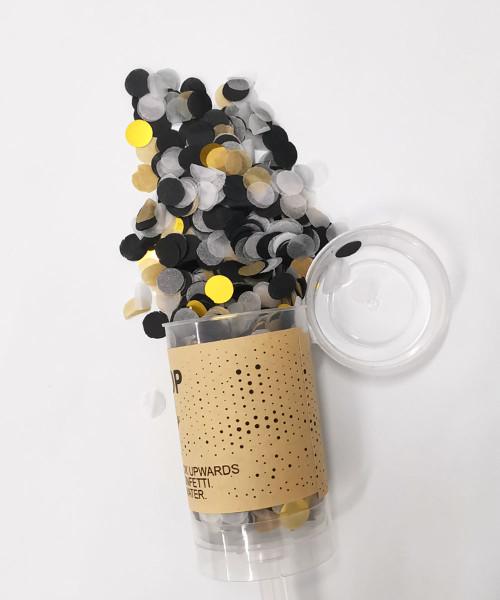 Confetti Party Popper (18cm) - Charcoal Gold