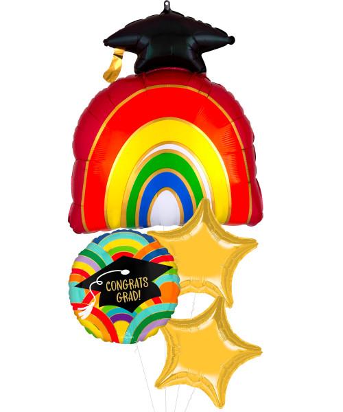 [Graduation] Grad Rainbow All Around Stars Balloons Bouquet