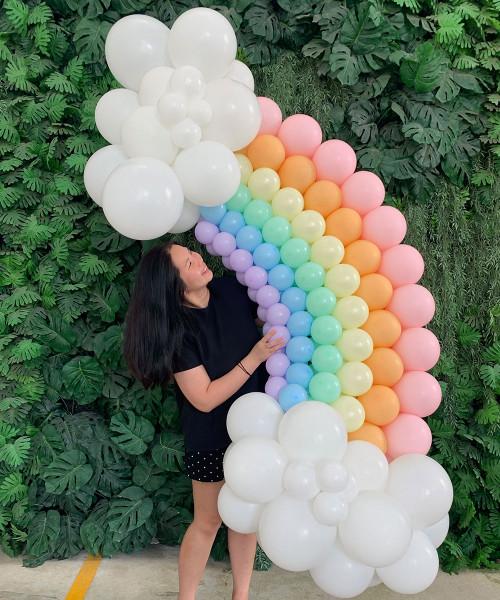 Fluffy Clouds Macaron Pastel Rainbow Balloon Arch