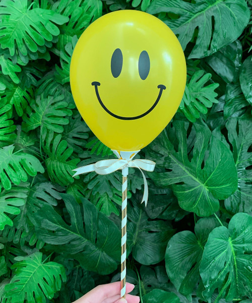 """[Oh Little Darlin'] 5"""" Smiley Balloon on Stick - Happy Face"""