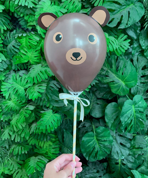 """[Oh Little Darlin'] 5"""" Animal Balloon on Stick - Grizzly Bear"""