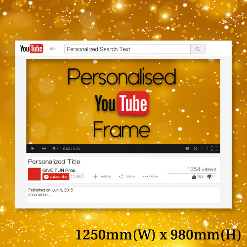 Made-to-order personalised YouTube Frame Prop