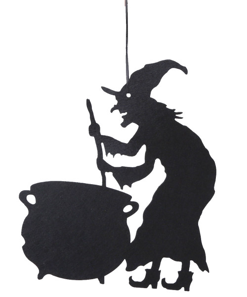 Halloween Hanging Decoration - Wicked Witch & Cursed Cauldron (37cm)