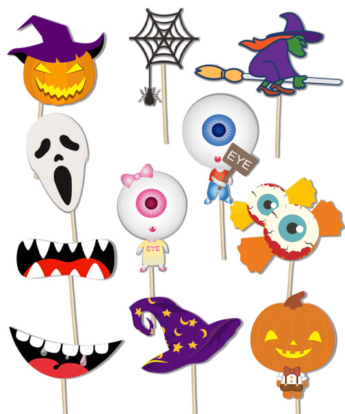 (310gsm Art Card cut-out) Spooky Halloween Party Photobooth Props (11 Designs, DIY Kit)