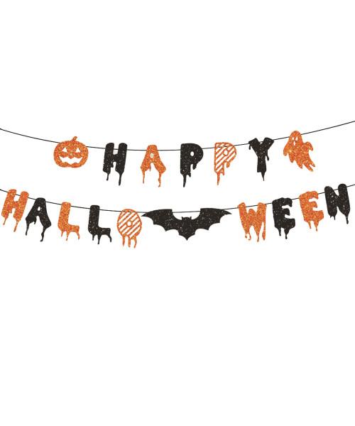 [Halloween] Happy Halloween Letter Bunting (2.5 meter) - Spooktacular Glittery Black & Orange